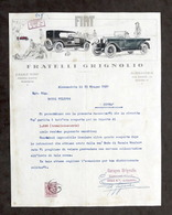 Pubblicità Concessionaria Fiat Grignolio Alessandria - Sollecito Giugno 1927 - Pubblicitari