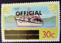 St Christopher Nevis Anguilla Surchargé Overprinted OFFICIAL St. Kitts 1980 Bateau Boat Yvert S12 ** MNH - St.Kitts En Nevis ( 1983-...)