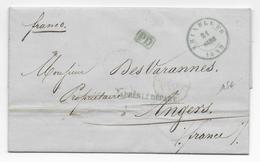 """BELGIQUE - 1849 - LETTRE FRANCO De BRUXELLES (CACHET BLEU) Avec """"GRIFFE APRES LE DEPART"""" => ANGERS - 1830-1849 (Independent Belgium)"""