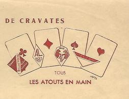 """Facture 1939 / PARIS / A. LAFONT / Manufacture De Cravates / Logo Cartes à Jouer """"Les Atouts En Mains"""" - France"""