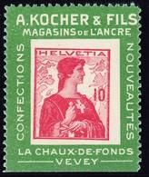 1909 Kocher-Reklame Etiketten Marken; Nr. 3c,10 Rp. Mit Erstfalz, Unteres Randstück - Neufs