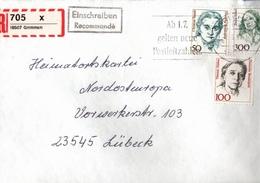 ! 1 Einschreiben ,1994, Selbstklebender  R-Zettel  Aus Grimmen, 18507 - BRD