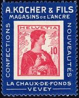 1909 Kocher-Reklame Etiketten Marken; Nr. 3b,10 Rp. Postfrisch - Neufs