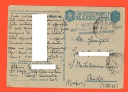 Alpino Btg Pieve Di Teco Comando  Posta Militare 1942 X Imperia Posta FRANCHIGIA Forze Armate - 1900-44 Vittorio Emanuele III