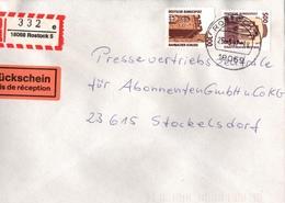 ! 6 Einschreiben ,1994-1997, 5 X Mit Rückschein, 1 X Selbstklebender  R-Zettel  Aus Rostock, 18069, 18106, 18109, 18147 - [7] Repubblica Federale