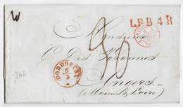 PAYS-BAS - 1850 - LETTRE De DORDRECHT TAXE 30 + ENTREE FRANCE ROUGE SUP VALENCIENNES + LPB4R (LETTRE PAYS-BAS 4°RAYON) - 1849-1876: Classic Period