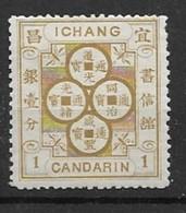 1894 CHINA  ICHANG-1 CANDARIN BRASS COIN DESIGN MINT OG LH- CHAN LI-2 - China