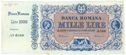 1000 LIRE SPECIMEN - CON MATRICE BANCA ROMANA REGNO D'ITALIA 24/08/1872 SPL+ - Altri
