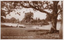AP54 Boating Lake, Markeaton Park, Derby - 1940's RPPC, Slogan Postmark - Derbyshire