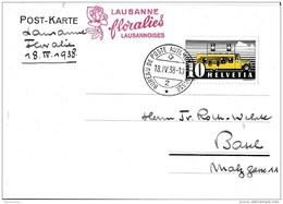 """121 - 20 - Carte Avec Oblit Spéciale """"Lausanne Floralies Lausnnoises 1938"""" - Marcophilie"""