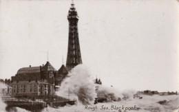 AQ37 Rough Sea, Blackpool - RPPC - Blackpool
