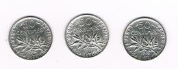 I  FRANKRIJK  3 X 50 CENTIMES 1916/17/18  ZILVER - France