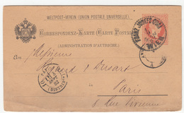 Austria UPU Postal Stationery Postcard Travelled 1882 Schenker & Co., Wien To Paris B190710 - Interi Postali