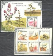 W022 2009 T S.TOME E PRINCIPE FLORA PLANTAS MEDICINAIS 1KB+1BL MNH - Altri