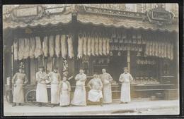 CARTE PHOTO - Devanture De La Boucherie E. Carpentier Et Ses Employés - Lieu à Déterminer - Other