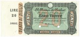20 LIRE SPECIMEN CON MATRICE BANCO DI SICILIA FEDE DI CREDITO 27/04/1870 SUP - [ 1] …-1946 : Kingdom