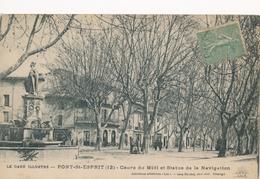 CPA - France - (30) Gard - Pont-Saint-Esprit - Cours Du Midi Et Statue De La Navigation - Pont-Saint-Esprit