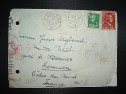 LETTRE Censurée NORVEGE FRANCE TP 20 + 10 OBL. RAMSTAD - Marcophilie (Lettres)