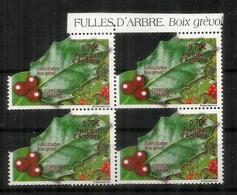 European Holly.Feuille De Houx.Boix Grévol., Année 2019. BLOC DE 4  Neuf ** Bord De Feuille - Ungebraucht