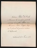 ADEL  NOBLESSE / MAD. FELIX DE COCK - SA FILLE ALICE AVEC M. JULES LEGER  OUDENAARDE 1886 - Mariage