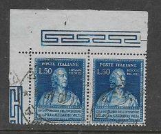 Italy, 1940, 150th Anniversary Of Birth Of Volta, L.50,NE Marginal Pair + Selvedge,  Used - Usati