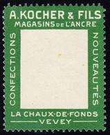 1909 Leere Kocher-Träger Reklamemarke; Postfrisch, Feine Bugspur - Schweiz