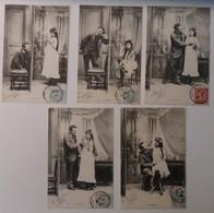 Illustrateur: Bergeret ?? - Lot De Cinq Cartes Postales - LES CINQ SENS - Circulé: 1909 - 2 Scans - Illustrateurs & Photographes