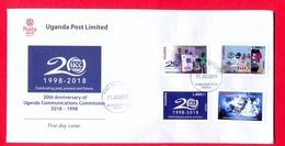 UGANDA 2019 FDC New Stamps Issue 20 Years UCC Uganda Communication Commission 1998 - 2018  First Day Of Issue OUGANDA - Oeganda (1962-...)