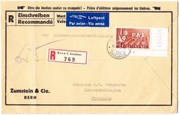 1945 R-Brief Der Firma Zumstein Mit 2 Franken Pax Bogen Eckstück; Aus Bern Nach Stockholm; Brief Links Senkrechter Bug - Schweiz