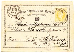 1873 2 Kr Ganzsachenkarte Mit Stempel Krakau Bahnhof Polen Nach Salzburg - Covers & Documents