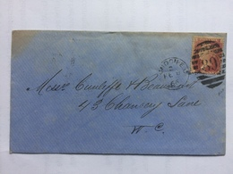 GB VICTORIA 1866 Cover London Internal Tied With 1d Red - 1840-1901 (Victoria)