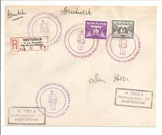 Aangetekend Amsterdam 15 Jaar Philatelist.Dag Van De Postzegel. Stpl 29.8.42 Postbode Paars En Rood - Covers & Documents