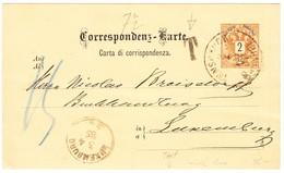 1885 2 Kr Ganzsachenkarte Aus Insbruck Nach Luxembourg, Taxiert, Leichter Waagrechter Bug - 1850-1918 Empire