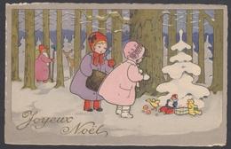 Jolie Cpa Fantaisie Illustrée Litho JOYEUX NOEL Enfants Sapin Forêt Père Noel - Santa Claus