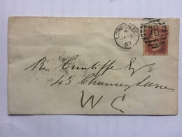 GB VICTORIA 1867 Cover London Internal Tied With 1d Red - 1840-1901 (Victoria)