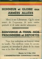 Avis Comunale Pour Rendre Hommage Aux Armée Alliées 1945 - 1939-45