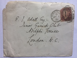 GB VICTORIA 1876 Cover Cambridge To London Tied With 1d Red - 1840-1901 (Viktoria)