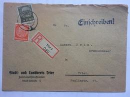 GERMANY 1941 Registered Einschreiben Cover Trier Internal - Germany