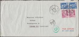France 1953 Y&T 811 Et 886 X 2. Gandon 10 Et 15 F X 2 - 50 F De Paris à Vienne. Avec Censure - 1945-54 Marianne Of Gandon