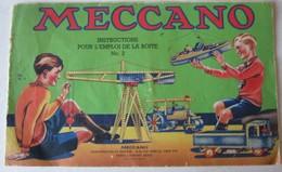 CATALOGUE MECCANO N°42.2 INSTRUCTIONS POUR L'EMPLOI DE LA BOITE N°2 - Meccano
