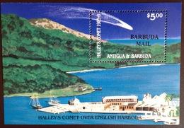 Barbuda 1986 Halley's Comet Overprint Minisheet MNH - Antigua And Barbuda (1981-...)