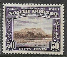 North Borneo, GVIR, 1939, 50 Cents, Mt Kinabalu,  MH * - North Borneo (...-1963)