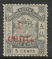 North Borneo, VR, 1892, 1 Cent Surcharge On 5c Slate,  MH * - North Borneo (...-1963)
