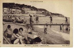 06 Nice N°245 La Plage Bains De Mer Jetée Sommaire Homme En Costume PUB GRAND MARNIER Photo Munier Non Voyagé - Nizza