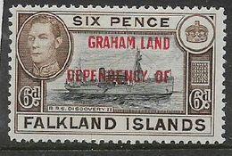 GRAHAM LAND  DEPENDENCY OF Opt On  Falkland Islands, GVIR, 6d, Blue-black & Brown, MNH ** - Falkland