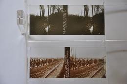 2 Vues Stéréoscopiques Oostvleteren Oostaletren (?) - Défilé Troupes Rail Boue - WW1 Grande Guerre - Plaques De Verre