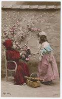 Deux Fillettes S'offrant Des Roses - Panier Avec Baguette De Pain (12433) - Children And Family Groups