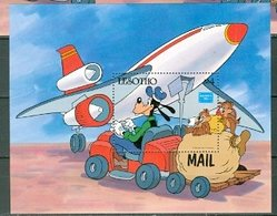 Lesotho Disney Goofy And Mail Plane Souvenir Sheet Block MNH 1986 Cat $11 US A04s - Lesotho (1966-...)