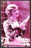 """FEMME - CP - Jeune Femme Lisant Une Lettre - """" Bonne Année """" - Circulé - Circulated - Gelaufen - 1930. - Femmes"""