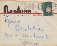 9465-BUSTA INTESTATA PUBBLICITARIA DITTA MARIO ASPESI-CAVE E MINIERE-IVREA(TORINO) - Pubblicitari